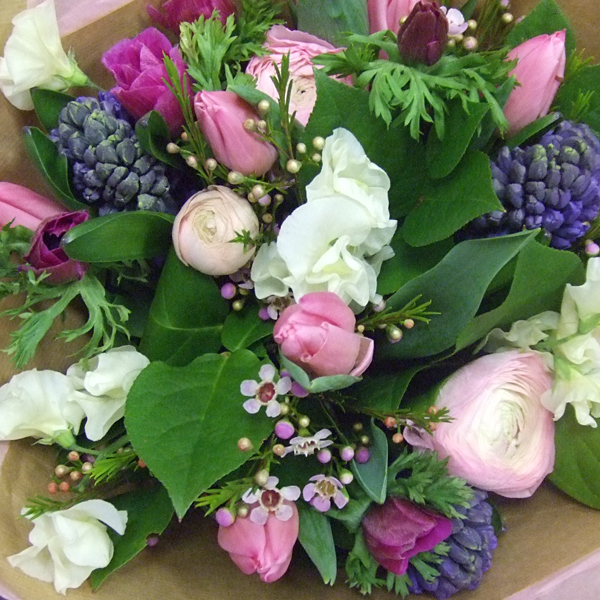 Spring bouquet, tulips and ranunculus