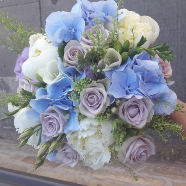 Pale blues and lilacs bridal bouquet