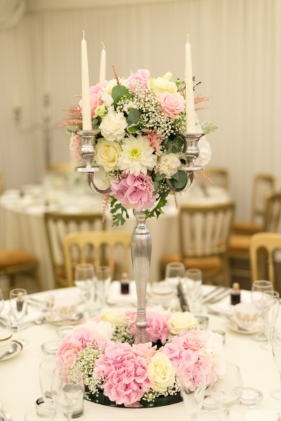 Candelabra arrangment, wedding table, dahlias, hydrangeas