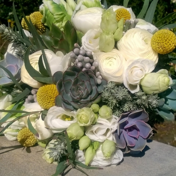 Succulent and spring coloured bouquet